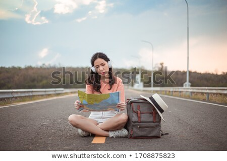 Female traveling along mountains Stock photo © Anna_Om
