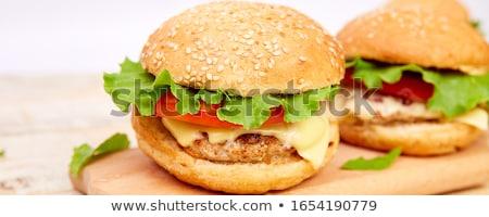 バナー 牛肉 ハンバーガー 木製のテーブル 光 屋台の食べ物 ストックフォト © Illia
