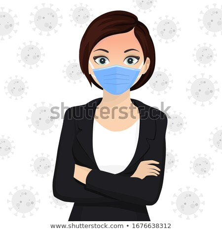 Woman use face mask. Disposable medical surgical blue protective mask. Vector Stock photo © Andrei_
