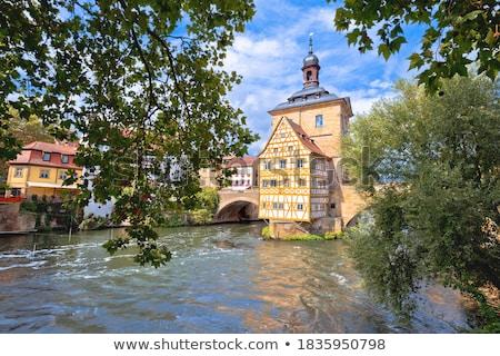 Schilderachtig oude binnenstad hal twee bruggen Stockfoto © xbrchx