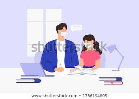 Apa tanít gyerekek tanul otthon illusztráció Stock fotó © artisticco