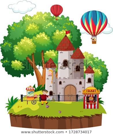 Scene with big castle towers and balloons in the park Stock photo © bluering