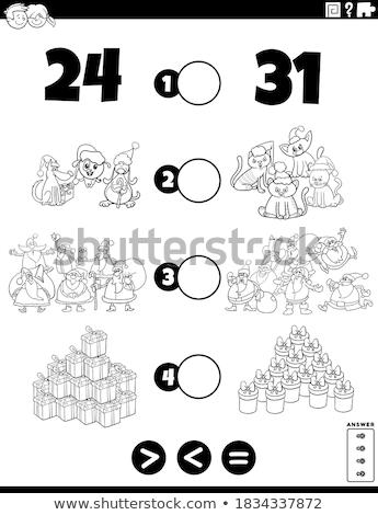 Menos igual jogo livro para colorir página preto e branco Foto stock © izakowski