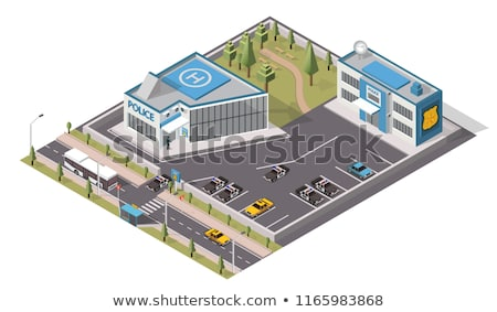 Police Department Isometric Icons Set Vector Stock photo © pikepicture