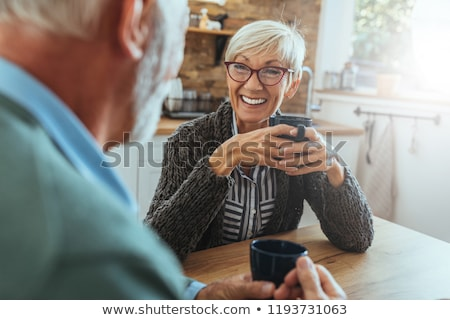 senior couple drinking coffee together stock photo © photography33