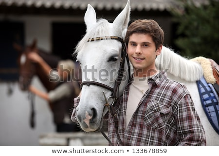 Férfi néz ló természet hát fehér Stock fotó © photography33