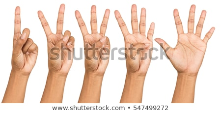 Stock photo: Counting woman hands (1 to 5)