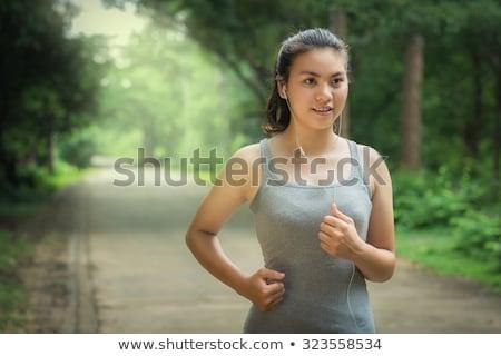 Futók jogging ázsiai lány portré fiatal pér Stock fotó © Maridav