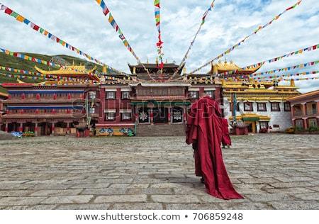 Foto stock: Histórico · tibete · dourado · blue · sky · céu · edifício
