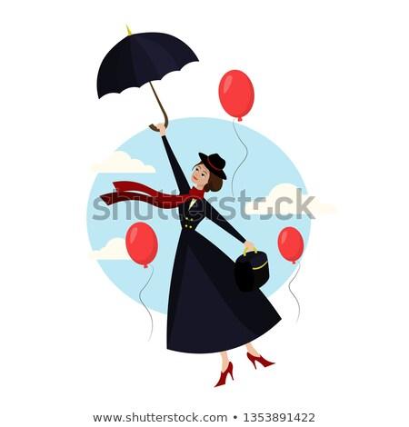 baba · repülés · esernyő · hónap · öreg · kislány - stock fotó © nailiaschwarz