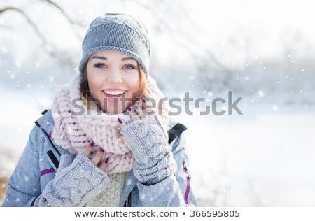 Nő portré hó boldog nő néz háttér Stock fotó © mirc3a
