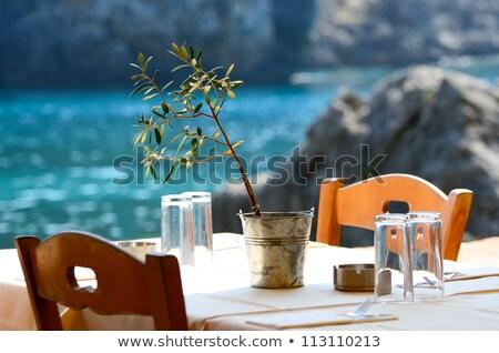 Görög virágok építkezés piros kávézó építészet Stock fotó © mirc3a