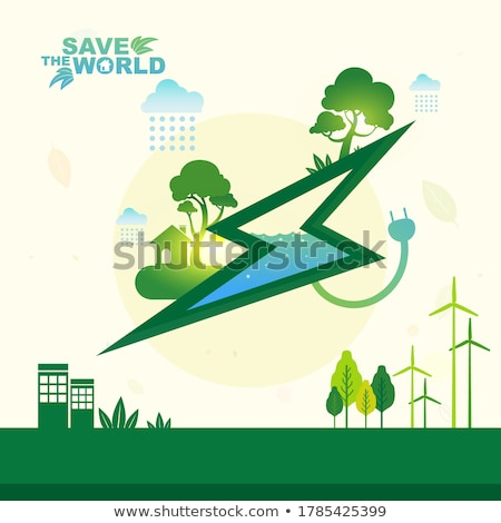 bicycle with green city - vector Stock photo © marish
