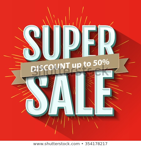 Stock photo: Red Sale Poster With Sunburst