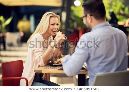 Twee paren genieten maaltijd familie partij Stockfoto © photography33
