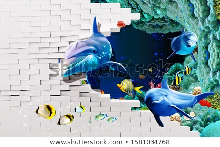 artistique · poissons · illustré · carte · mode - photo stock © ajlber