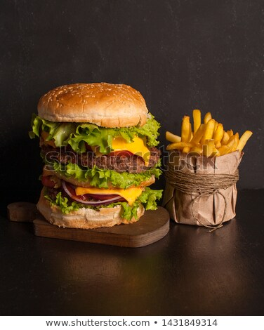 cheeseburger · branco · raso · jantar - foto stock © broker