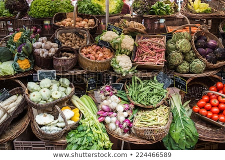 french sign in vegetable market stock photo © timwege