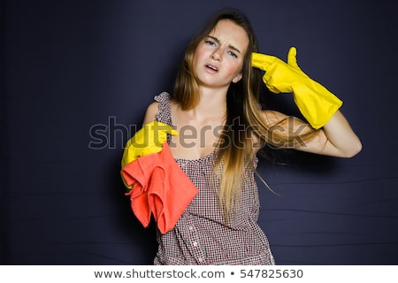 Woman with gun on white stock photo © Aikon