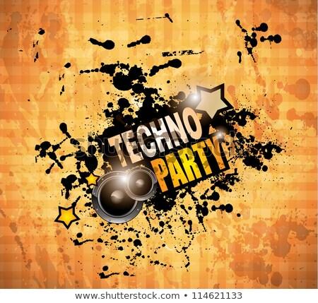 disco club flyer with 2 speaker and a lot of liquid drops stock photo © davidarts