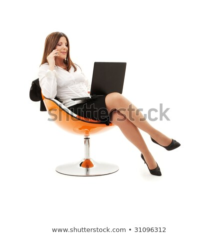 Imprenditrice telefono arancione sedia bianco business Foto d'archivio © dolgachov