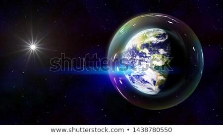 Stock fotó: Kék · Föld · Amerika · kristály · buborékok · földgömb