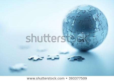 dünya · haritası · bilmece · üç · puzzle · parçaları · doku · iş - stok fotoğraf © kjpargeter