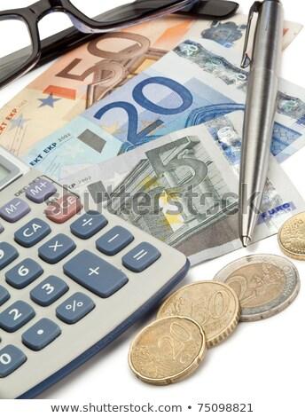 Pieniężnych monet pióro okulary kieszeni Kalkulator Zdjęcia stock © wavebreak_media