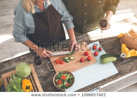 gyönyörű · pár · vág · zöldségek · konyha · flörtöl - stock fotó © photography33