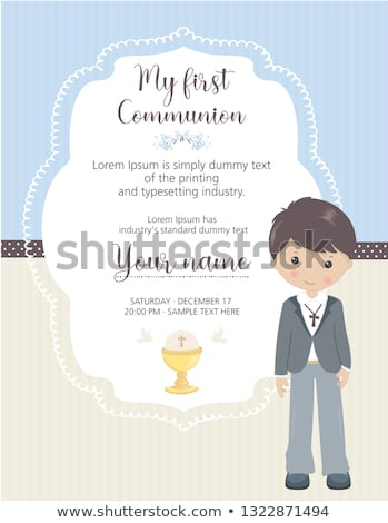 chalice first holy communion, invitation card vertically Stock photo © marimorena
