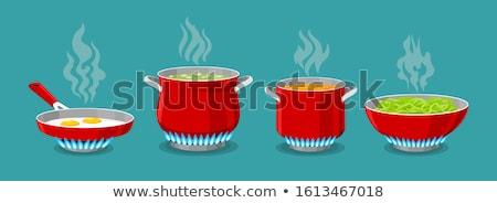 caldeirão · fogo · cozinhar · montanhas · céu · comida - foto stock © hermione