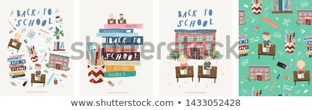 Back to school, cute school children, vector illustration Stock photo © carodi