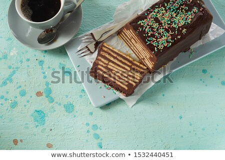 Chocolate stains on White Ceramic plate Stock photo © nuttakit