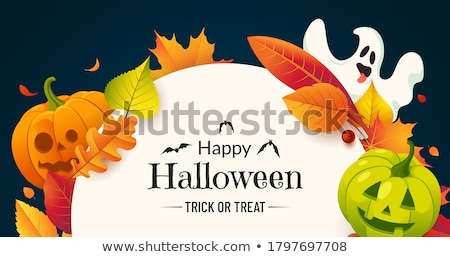 halloween banner with pumpkin and bats stock photo © marinini