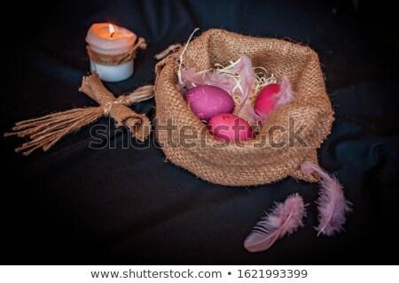 színes · húsvéti · tojás · gyertyák · közelkép · három · alakú - stock fotó © w20er