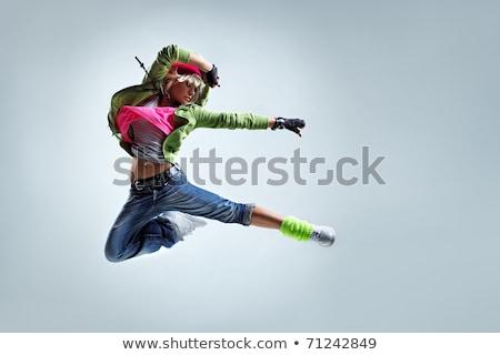 Modern stílusú táncos pózol fehér zene buli Stock fotó © prg0383