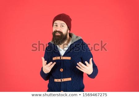 Hat борода моде красивый взрослых лице Сток-фото © sahua