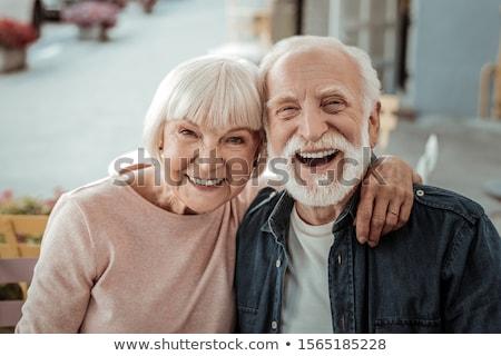 portre · mutlu · yaşlı · çift · çiçekler · kadın - stok fotoğraf © kurhan
