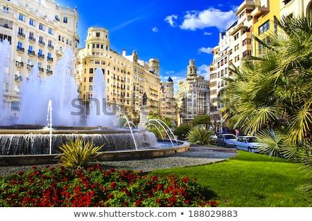 バレンシア · 市 · 町役場 · 広場 · スペイン · ツリー - ストックフォト © lunamarina