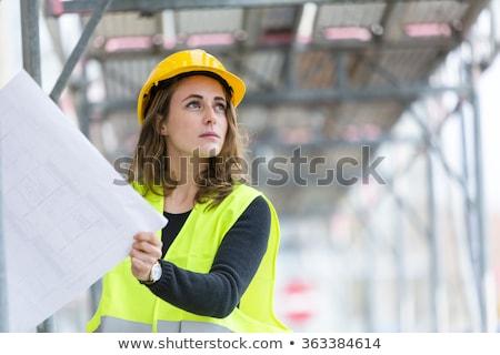Arquitecto femenino trabajador de la construcción silueta azul Foto stock © HunterX