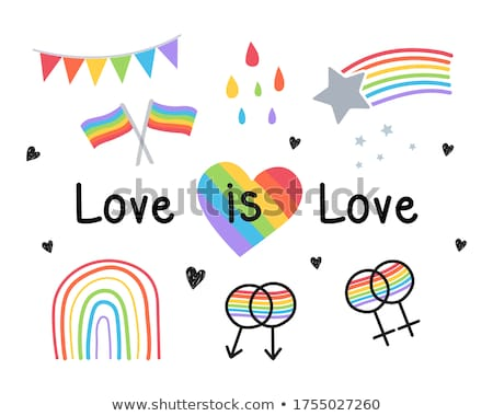 gay and lesbian couples rainbow flag with hands icons set stock photo © redkoala