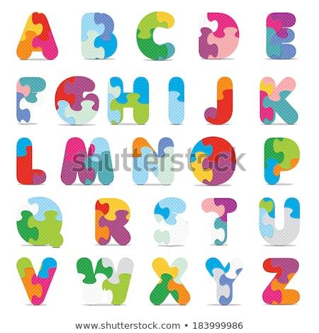 vetor · alfabeto · escrito · quebra-cabeça · negócio · construção - foto stock © ojal