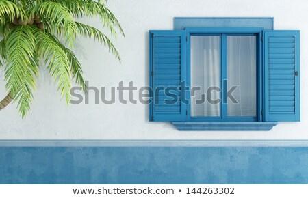 Stock photo: Old blue window shutters.