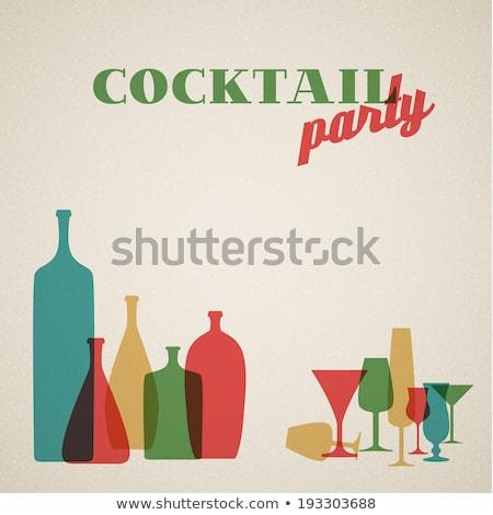 Retro Coctail party invitation card Stock photo © orson