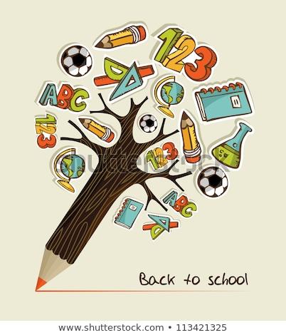 Vissza az iskolába levelek színes sötét textúra iskola Stock fotó © orson