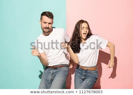 Engraçado casal brincadeira em torno de falsificação bigode Foto stock © feelphotoart