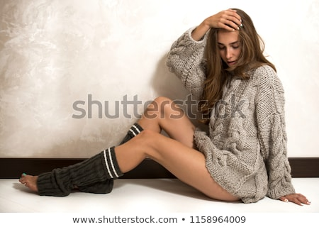 lady in fashion shoot wearing white underwear stock photo © stryjek