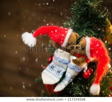 небольшой · мишка · чулок · Рождества · древесины · ретро - Сток-фото © nejron