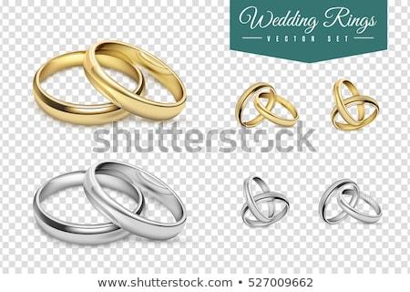 Stock fotó: Szív · jegygyűrűk · 3D · generált · kép · kettő