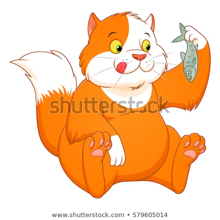 cat is going to eat fish Stock photo © ddvs71